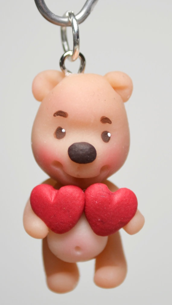 Teddy Bear holding 2 hearts charm  Handmade by HandcraftedCuties, $5.00