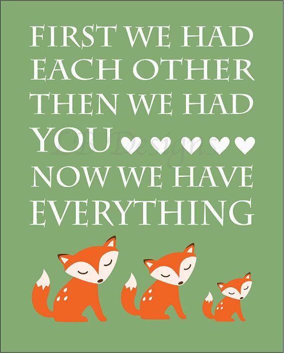 Orange and Green Fox Woodland Nursery Print8x10 by LJBrodock, $10.00