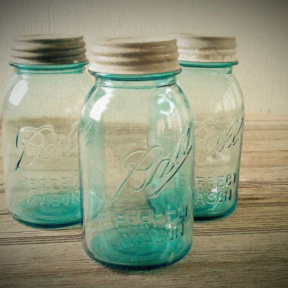 I have an idea for these... Blue Ball Jars Trio of Vintage 1 Quart Blue by lisabretrostyle2.