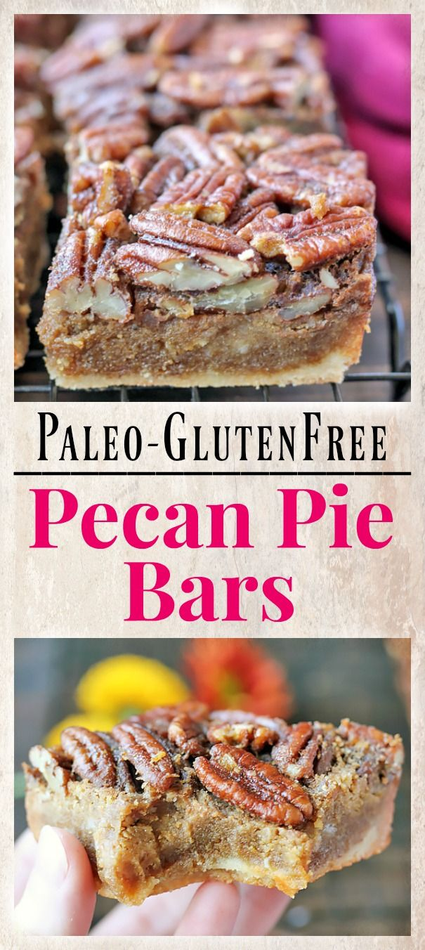 These Paleo Pecan Pie Bars have all the flavors of pecan pie, but made easier and in bar form.They are the ultimate holiday dessert and are gluten free, dairy free, and naturally sweetened.
