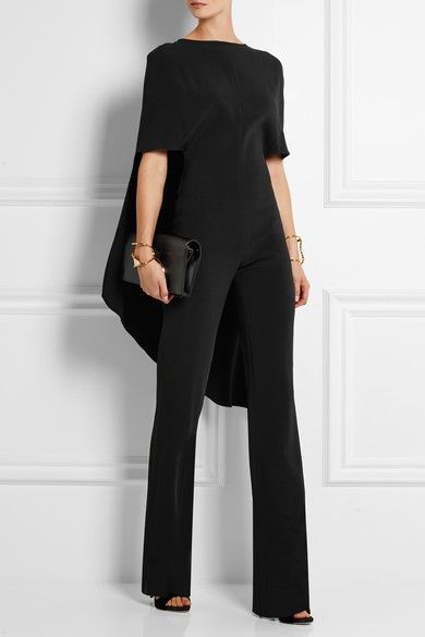 Black crepe Button-fastening keyhole and concealed zip fastening at back  Fabric1: 58% viscose, 38% acetate, 4% elastane; fabric2: 65% viscose 35% polyester Dry clean