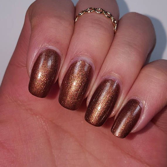 SHIMMERY DARK BROWN Nail Polish w/ Pink Red Sparks 5-Free Base
