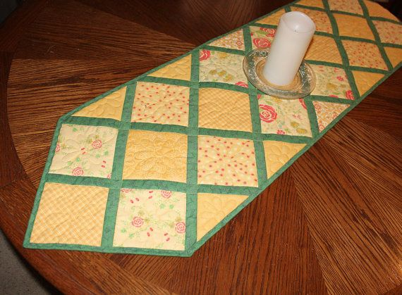 Yellow Quilted Table Runner Butter Yellow and by QuiltSewPieceful
