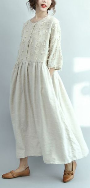 2017 white linen dresses oversize casual long linen maxi dress traveling dresses