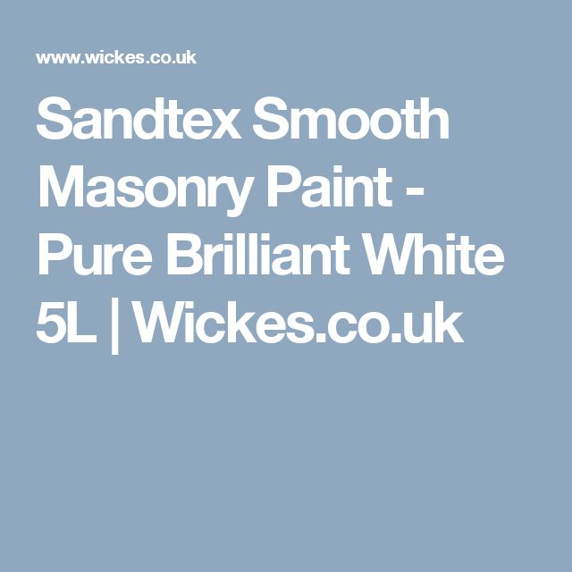 Sandtex Smooth Masonry Paint - Pure Brilliant White 5L | Wickes.co.uk