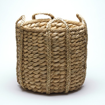 Natural Round Rush Basket