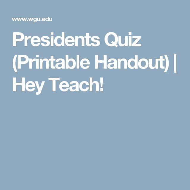 Presidents Quiz (Printable Handout) | Hey Teach!