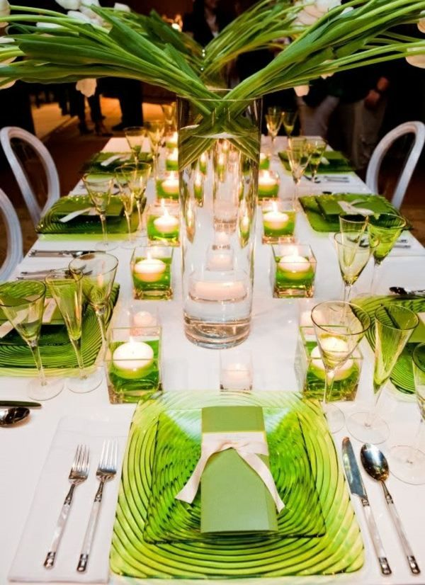 Table Decorating Ideas Green Candles Luxury Design