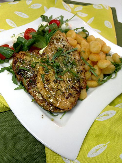 Pesto chicken with gnocchi
