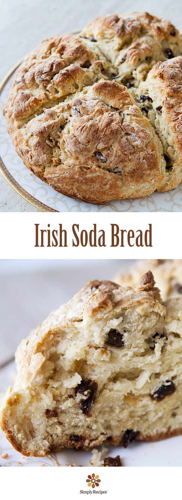 The BEST Irish Soda Bread! Quick and EASY too. All you need is flour, baking soda, salt, buttermilk to start, then you can fancify with raisins and egg. On SimplyRecipes.com
