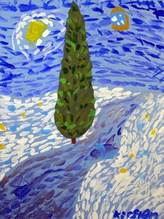Have students choose a landscape to paint in the style of Van Gogh.  Block out the main shapes.  Demonstrate how to create tints/shades (double dip) as well as painting using brushstroke marks.
