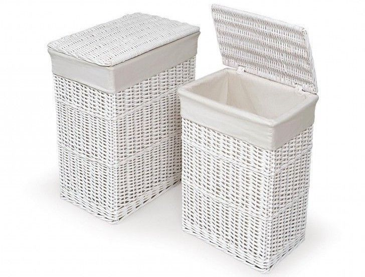 White Wicker Laundry Hamper Set 2 Clothes Baskets Organizer Bin With Lids Liners