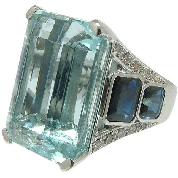38.20 Carat Aquamarine Sapphire Diamond White Gold Ring ($15,385) ❤ liked on Polyvore featuring jewelry, rings, accessories, 18 karat gold ring, emerald-cut rings, aquamarine rings, 18k diamond ring and diamond jewellery