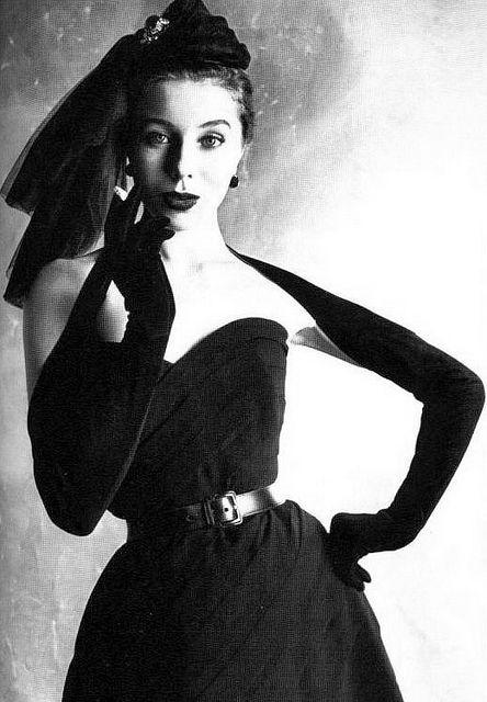 Bettina (nee Simone Micheline Bodin) wearing a strapless Christian Dior, 1952.