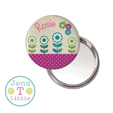Flowers Compact Mirror - Personalised