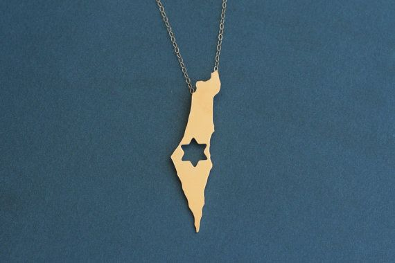 Israel Map Necklace with Star of David Golden by meytalbarnoy