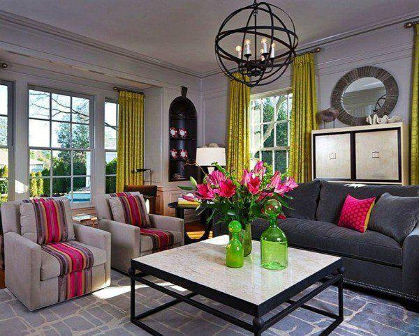 1000 id es propos de rideaux jaunes sur pinterest - Deco salon gris et jaune ...