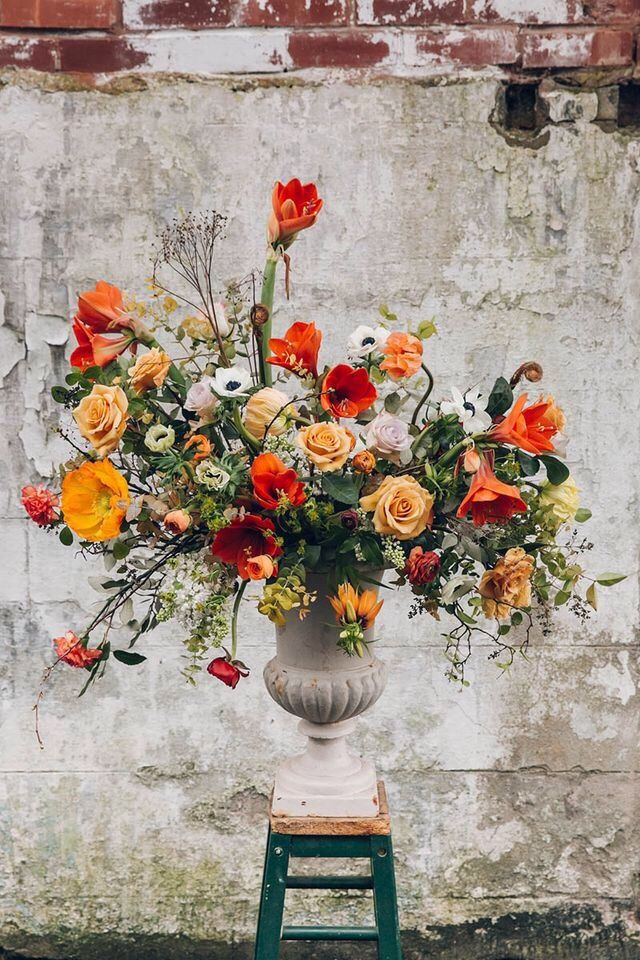 Warm bright coloured floral design