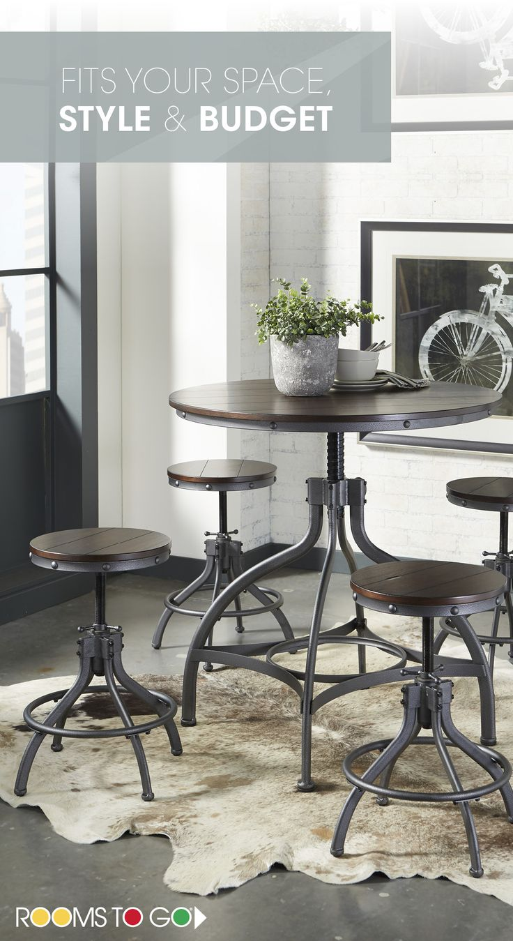 Create an industrial chic look in your dining space with the cool, factory inspired style of the Industry Place dining set. Visit Rooms To Go now, and see more dining room sets that will fit your style and budget!