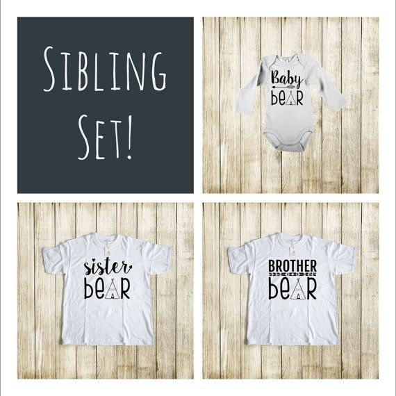 Set of 3 Sibling Shirt Set  Matching Brother by TheLittleOwlNest