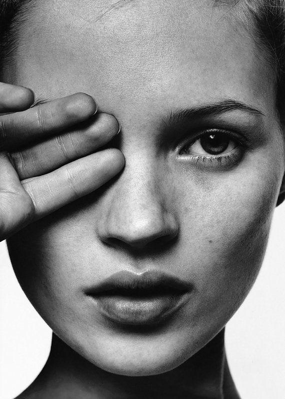 Kate Moss affiche papier ou toile 12 x 19 pouces