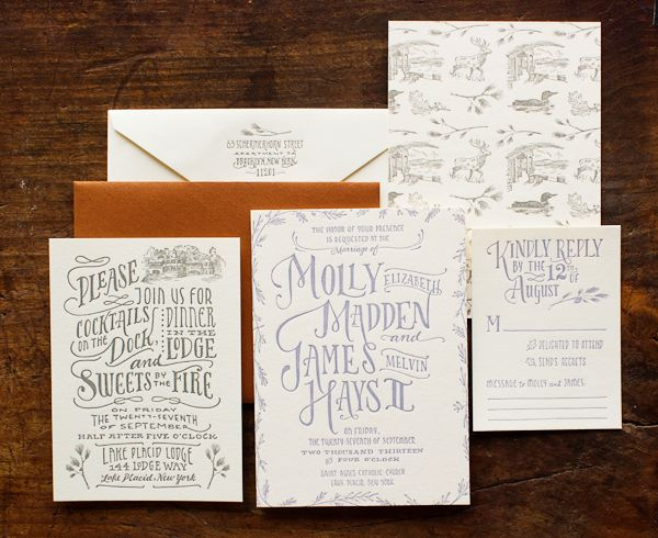 I like the Kindly Reply font and style - also the back of the card.  Woodland Toile Wedding Invitations Ladyfingers Letterpress James + Mollys Cozy Woodland Toile Wedding Invitations