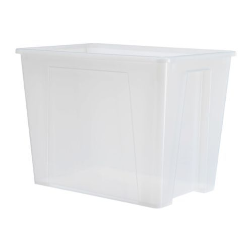 SAMLA Box IKEA Suitable for storing seasonal clothes and shoes, sports equipment, gardening tools or laundry accessories. 65L/17gal