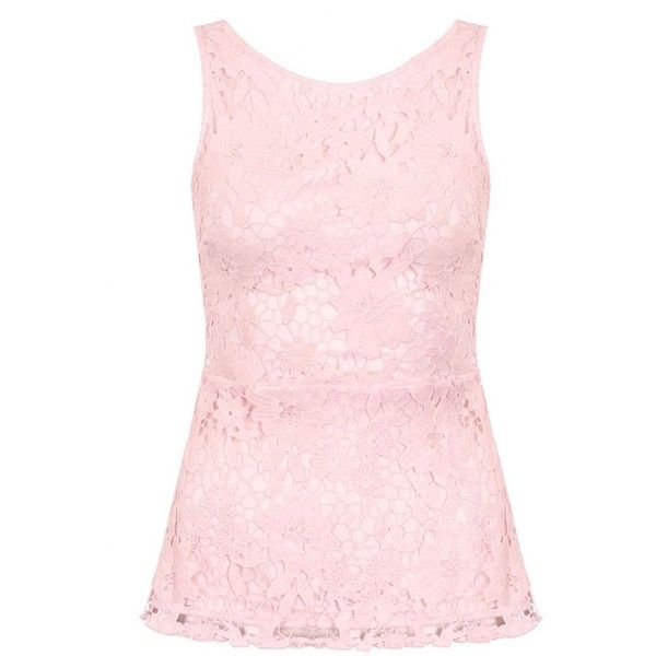 Pink Crochet Lace Peplum Top (317.235 IDR) ❤ liked on Polyvore featuring tops, pink peplum top, peplum tops, pink top and crochet lace top