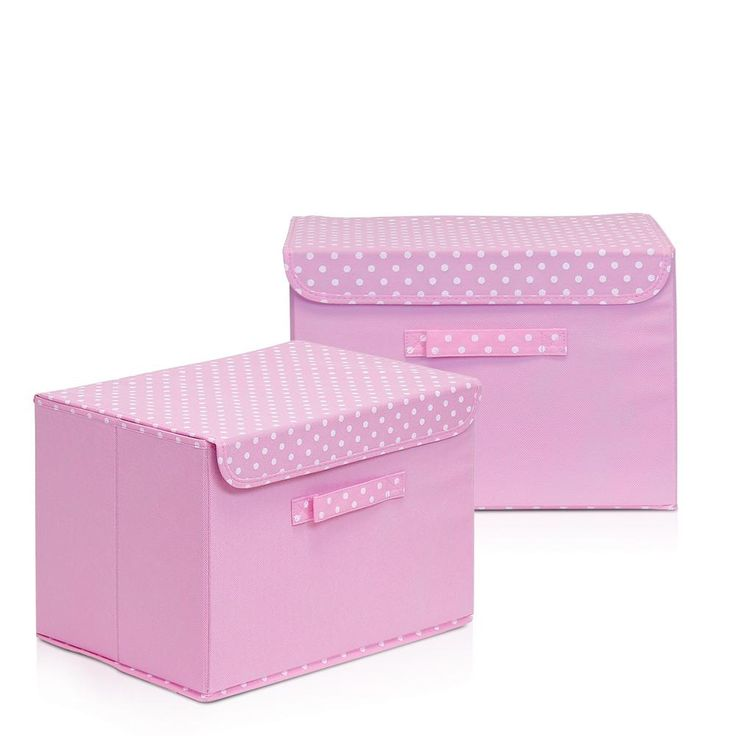 Non-Woven Fabric Pink Storage Bin with Lid (2-Pack)