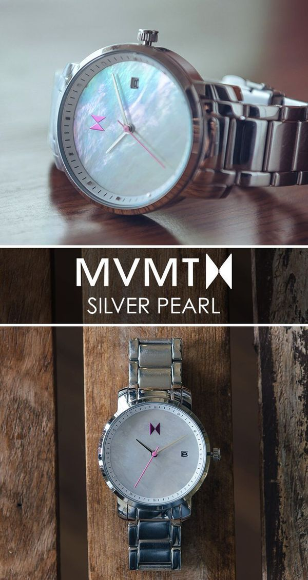 Quality crafted minimalism meets elegant chic design. Born in Santa Monica, California, the MVMT Watches initiative is to design fashion-forward products, and offer them at a revolutionary price. Let this Silver Pearl watch complete your accessory collection for just $125. Compliments guaranteed. Click the buy button to get it now!