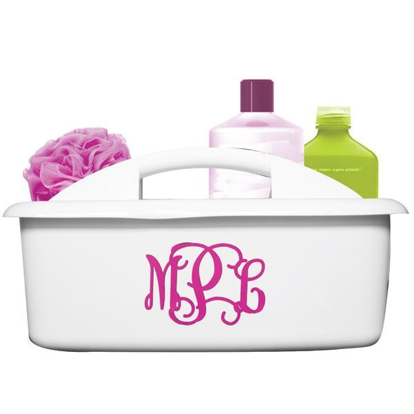 Our large organizer/shower caddies are perfect for toting shower stuff down the hall of your dorm, for organizing craft supplies in the craft room, or for cleaning supplies! So versatile  convenient!  Vinyl monogram included in your choice of  color  fonts!  Measures 12.75in x11.25in x 6.75in $22.5 www.tinytulip.com/monogrammed-organizer-caddy-shower-caddy www.tinytulip.com