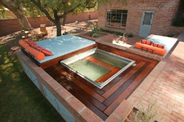 Square Backyard Spa Landscaping Design Collaborations Tucson AZ