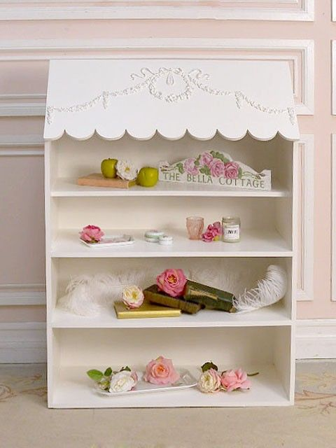 Shabby White Rose Scallop Awning Bookcase. ~how Cute For A