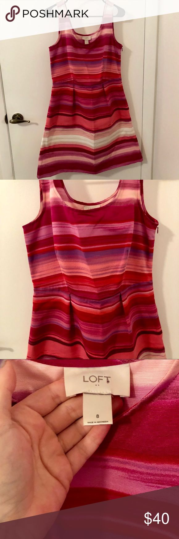💖 Beautiful Ann Taylor Loft Dress Beautiful Ann Taylor Loft Dress with stripes in shades of pink and purple. Perfect for spring and summer! Excellent condition! LOFT Dresses