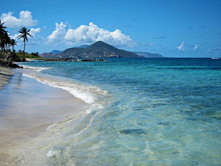 View of sister island, St. Kitts, from Nisbet Plantation Beach Club on Nevis #Caribbean #beach