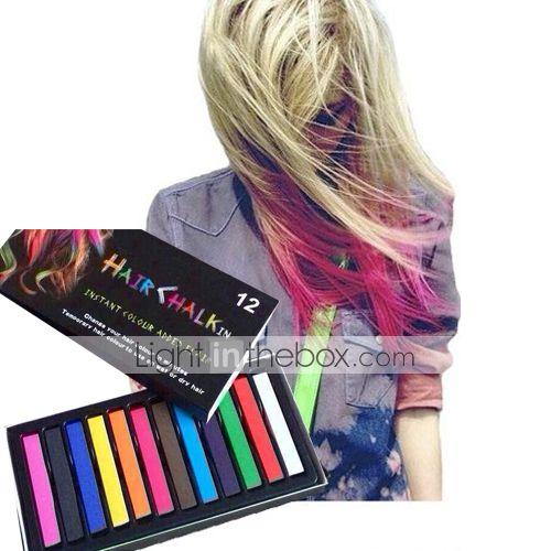 προσωρινής 12 μολύβια χρώματος κιμωλία για τα μαλλιά μη-τοξικά παστέλ βαφές μαλλιών κολλήσει DIY εργαλεία styling 2015 – €6.64