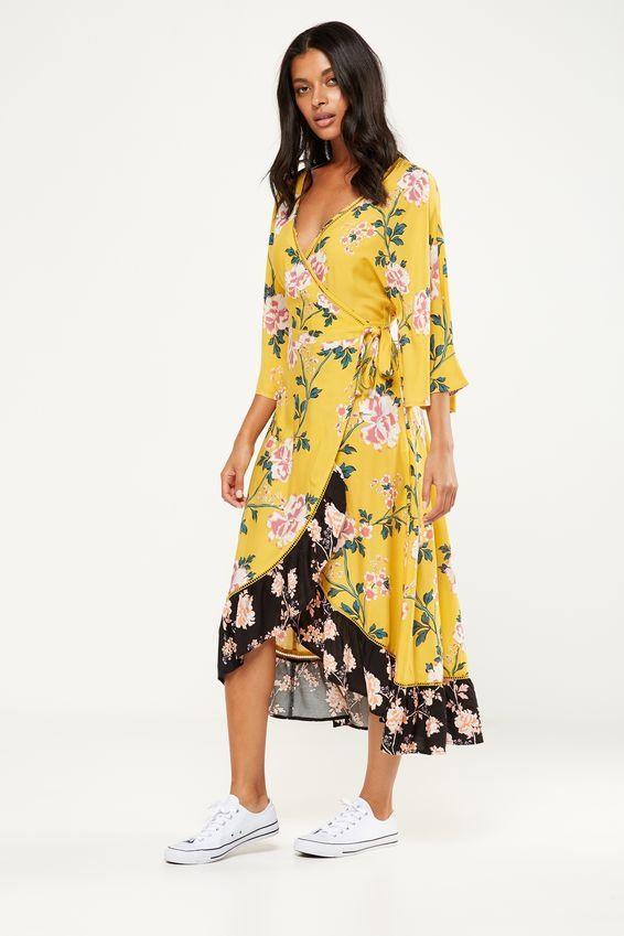 Woven Caitlin Wrap Kimono Sleeve Maxi Dress Alicia Floral Large Lemon Cotton On South Africa R649 00 Maxi Dress With Sleeves Maxi Dress Dresses