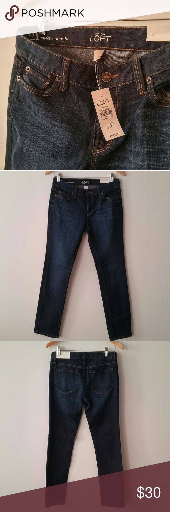 """NWT Anne Taylor Loft modern straight leg jeans, 2P New with tags! Size 2 petite. My weight loss is your gain.  26"""" waist,  28"""" inseam.  Smoke free home with a small dog. Reasonable offers welcomed. LOFT Jeans Straight Leg"""