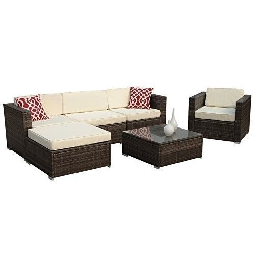 Patio Garden Home 6pc Outdoor Furniture Set Cream White Seat Aluminum Frame NEW #PatioGardenFurniture