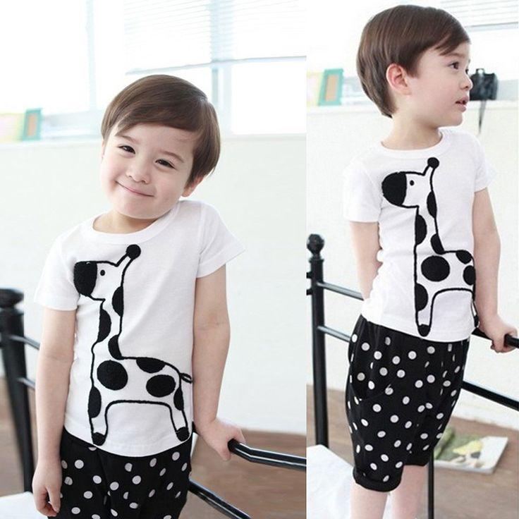 Стильные дети мальчик ребенок жирафа печать топы + точки короткие штаны устанавливает детская одежда 2 шт. костюм