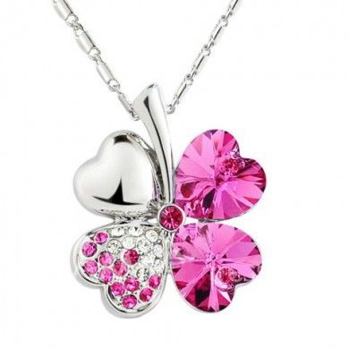 Sweet Rhinestone Decorated Clover Pendant Necklace For Women offer by souqelkhaleej.com features:-  * Delivery Time 12-20 Days (Without Processing Time) • Necklace Gender For Women • Necklace Type Link Chain • Material Rhinestone • Metal Type Lead-tin Allo