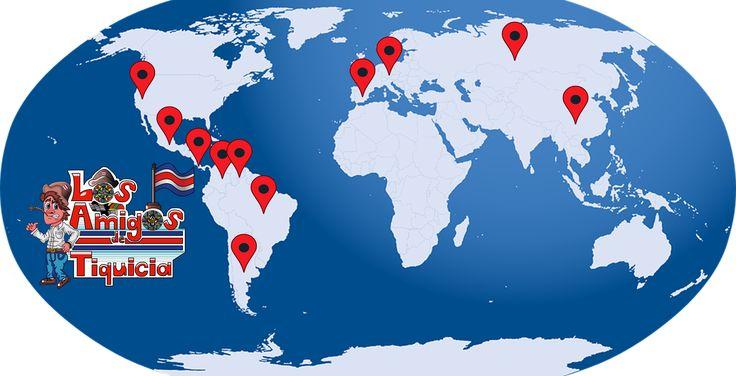 ¡Hoy, por el mundo! Con base en la información recolectada en nuestras redes sociales, ¡hemos hecho un mapa de las y los #AmigosDeTiquicia por el mundo! Amigos y amigas que, sin importar la distancia, ¡apoyan el proyecto! ¡Muchísimas gracias a todos! ¡Thank you so much to everyone! ¡Muito obrigado a todos! ¡Moltíssimes gràcies a tots! ¡Vielen Dank an alle! ¡Большое спасибо всем! ¡非常感谢大家! ¡Los Amigos de Tiquicia por el mundo! ¡Pura vida!