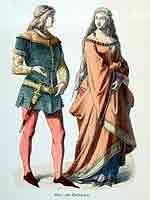 1470-Bürgerliche Kleidung mit kurzem Männerrock und weitem langen Damenkleid, hoch gegürtet und mit gerafften Falten.