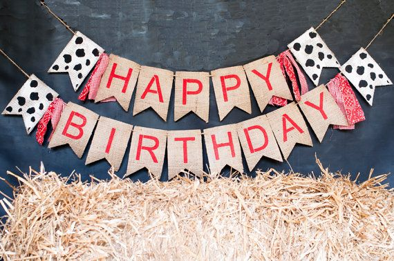 Barn Theme Party Banner Farm Happy Birthday Banner by SwankyBurlap