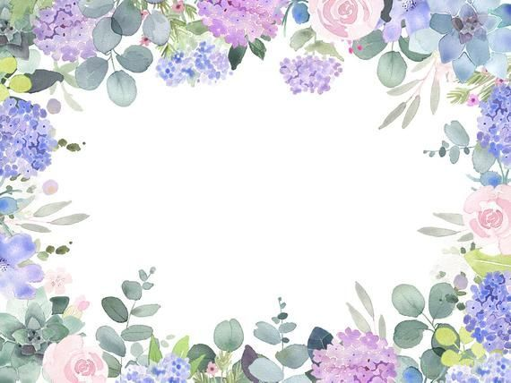 Lilac Roses And Succulents Have Been Handpainted To Create This Floral Watercolor Border Which Ca Flower Clipart Flower Background Wallpaper Watercolor Flowers