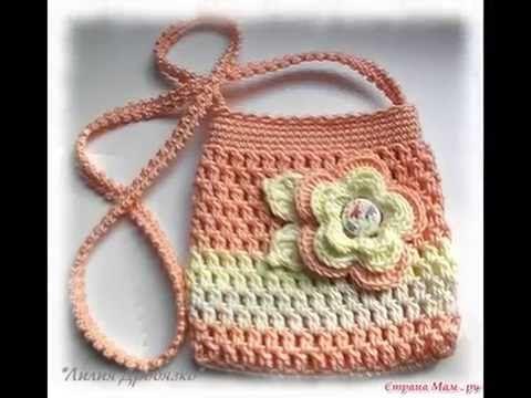 Como tejer cartera o bolso para niña en crochet paso a paso - YouTube