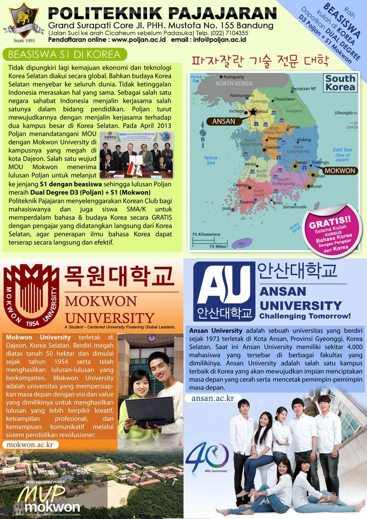 POLJAN bekerjasama denga 2 universitas ternama di Korea Selatan  RAIH Dual Degree  D3 Poljan + S1 mokwon University