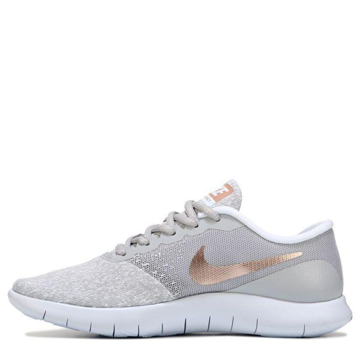 Nike Women S Flex Contact Running Shoes Grey Rose Gold Coralwomensshoes Bayan Ayakkabi Kosu Ayakkabilari Nike Kadin