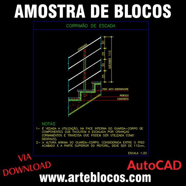Detalhe corrimão de escada para projeto de Incêndio