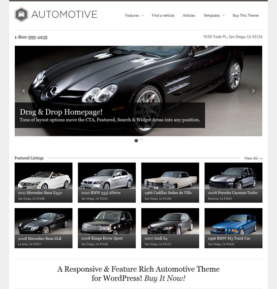 This car dealership WordPress themes offers a responsive layout, a drag and drop homepage builder, 5 custom page templates, a slider with touch support, SEO optimization, 17 custom widgets, and more.
